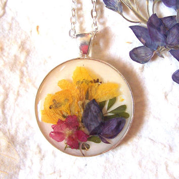Bluebonnet and Wildflower Texas Jewelry Pressed Flower Silver Plated Pendant Necklace