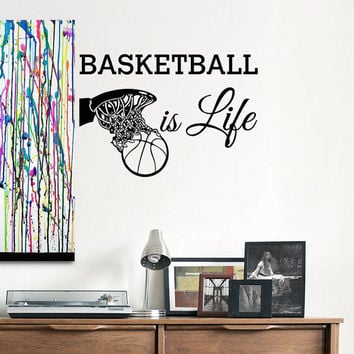Attractive Basketball Is Life Wall Decal Quotes Basketball Wall Decals Sports Stickers  Basketball Gift Nursery Boys Room