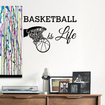 Basketball Is Life Wall Decal Quotes Basketball Wall Decals Sports Stickers Basketball Gift Nursery Boys Room Teen Dorm Wall Art Decor 0086