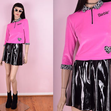 90s Barbie Pink Zip Up Crop Top