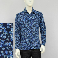 Vintage 70s Polyester Navy Floral Disco Shirt, Mens Retro Shirt, Butterfly Collar, Big Collar, Long Sleeve Button Down Shirt, Size M