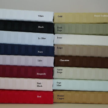 Twin-XL Sateen Stripe Bed Skirt 300 Thread count Egyptian Cotton