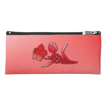 Red Flowers Daffodil Pencil Case