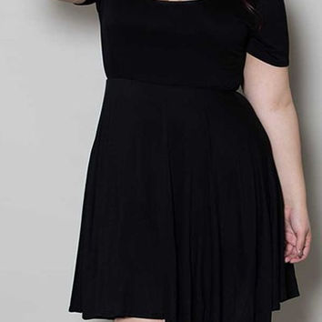 Short Sleeve Pleated A-Line Dress