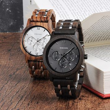 Fire Wood and Bamboo Quartz Watch