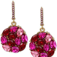 Betsey Johnson Gold-Tone Pink and Red Crystal Round Drop Earrings - Jewelry & Watches - Macy's