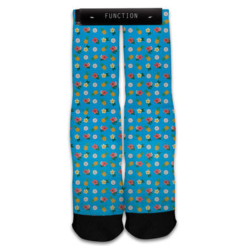 Function - Blue Tropical Pattern Sublimated Sock