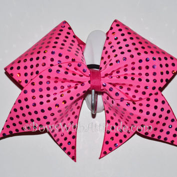 "3"" Wide Luxury Cheer Bow - Hot Pink Dot Sparkle"