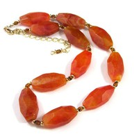 Orange fire agate necklace large chunky gemstones gold accents adjusts