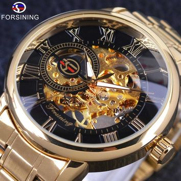 Forsining S838 Retro Roman Display Mechanical Steampunk Transparent Mens Luxury Skeleton Watch