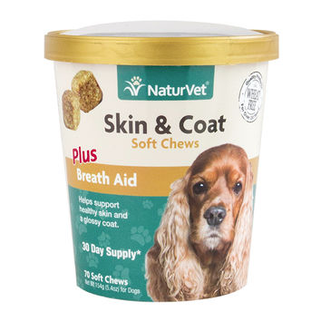 NatureVet Skin & Coat +Breath Aid Dog Chews 70ct