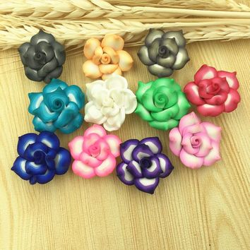 Mini Order 10PCS Polymer Clay Flower Beads DIY Girls Hair Jewelry Wedding Decoration Handmade Fimo Polymer Flower Crafts