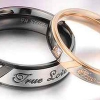 "Stainless Titanium Steel ""Love You"" "" man woman love Couple Rings engagement ring from TORNADO'S TREASURES"