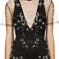 Black Tulle Pearl Embroidered T-Shirt