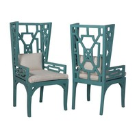 Manor Wing Chairs In Deep Teal - Set of 2 Teal