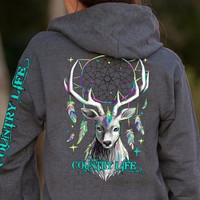 Country Life Feather Deer Dream Gray Full Zip Up Shirt Hoodie