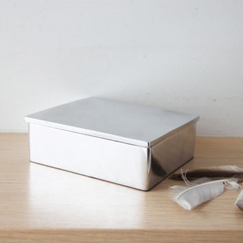 Aluminum desk box, silver coloured  pencil or card box, desk organiser, silver jewelry box, modern, rectangular aluminum box, minimalist box