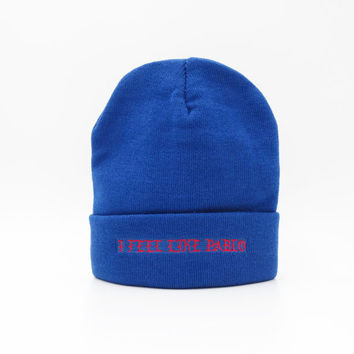 I Feel Like Pablo The Life Of Pablo Kanye West Warm Winter Knitted Beanie Mens & Womens Ski Cap Casual Outdoor Blue Cuffed Skully Hat