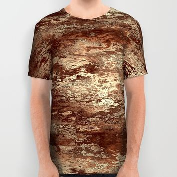 Brown wood bark texture All Over Print Shirt by Natalia Bykova