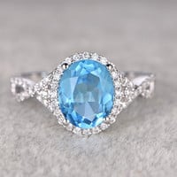 Blue Topaz And Diamond Ring White Gold 8x10mm Oval Halo Twisted Infinity Curved Bridal Ring 14k/18k