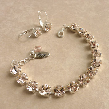 Swarovski crystal tennis bracelet, 8mm silk, bridesmaids bracelet, Siggy design, GREAT PRICE