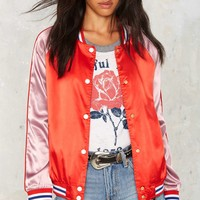 Ballpark Satin Bomber Jacket