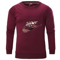 NIKE spring and autumn new round neck long sleeve men's casual sports pullover sweater Burgundy