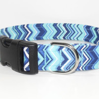 Chevron Dog Collar Teal Blue