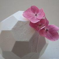 Hexagonal polyhedron white vase made from stoneware fine bone china - geometric decor