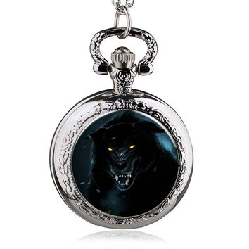 2017  Vintage Wizard Witcher 3 Medallion Pocket Watch Necklace Wolf Head Jewelry Halloween Necklaces & Pendants