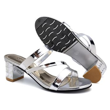 Patent Leather Chunky Heel Sandals