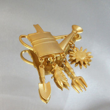 Vintage Watering Can Brooch. Garden Pin. Dangling Shovel, Fork, Sunflower, Peas. JJ