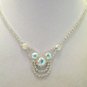 Swarovski crystal necklace set, BRIDAL, SPECIAL OCCASION,aroura borealis, crystal earrings, stunning