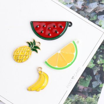 MRHUANG 10pcs Lovely fruite Pineapple Watermelon Banana Enamel Charms Alloy Pendant fit bracelet DIY Fashion Jewelry Accessories