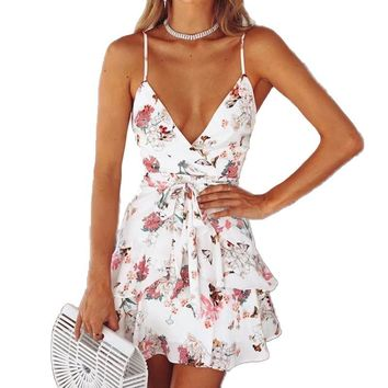 2018 Summer Boho Beach Dress Women V neck Backless Floral Print Short Mini Chic Dress Ruffles Wrap Sundress Female Clothing