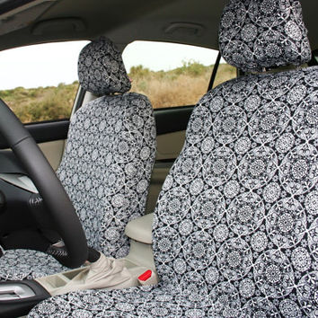 Car Seat Covers B W Mandalas Made Of Thick Jersey Fabric Pair For F