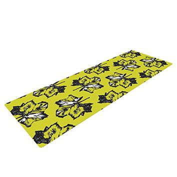 "Kess InHouse Julia Grifol ""Green Tree Leaves"" Yoga Exercise Mat, Yellow, 72 x 24-Inch"