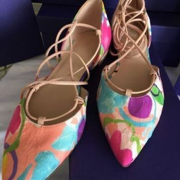Stuart Weitzman Gilligan Pointy Toe Ghillie Flat 6 6.5 7 M Colorful Water Color