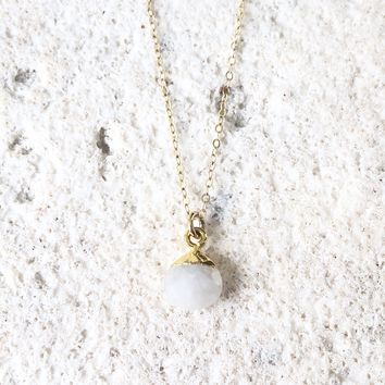 Rainbow Moonstone Dot Charm Pendant Necklace 14K gold filled chain