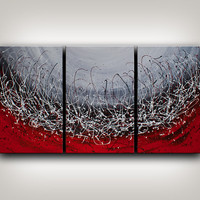 Painting, Red LARGE ABSTRACT PAINTING, Original Wall Art white skylight oil painting 72x36 string artwork black and white modern art Nandita