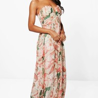 Boutique Kelly Floral Bandeau Maxi Dress | Boohoo