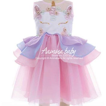 ( Ship Out After 15th in March, MOQ : 5 pieces in same sizes same color ) 5390 Unicorn Layered Baby Girls Dresses Kids Dresses