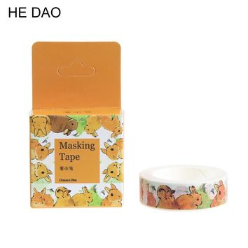 1 Pc / Pack Size 15 Mm*10m Diy Yellow Bunny Washi Tapes / Masking Tape / Decorative Adhesive Tapes / School Supplies