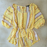 Backroads Blouse in Yellow [4123] - $24.00 : Vintage Inspired Clothing & Affordable Dresses, deloom | Modern. Vintage. Crafted.