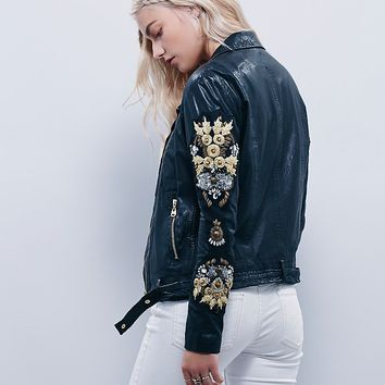 Free People Putting On The Ritz Washed Leather Jacket