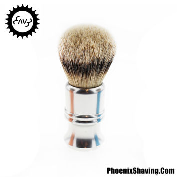 Envy Shave badger brush with 25mm Luxury Silvertip - Alluminati Classic by Nathan Clark - Silver