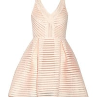 Light Pink Sleeveless V-Neckline Skater Dress with Sheer Crochet Details
