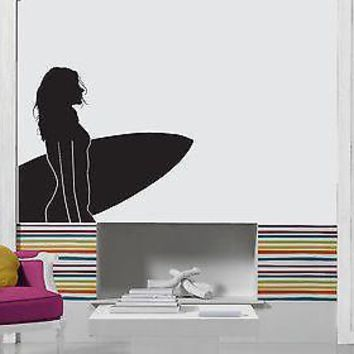 Wall Stickers Vinyl Decal Sexy Beautiful Girl Surfing Board Sports Unique Gift z1043