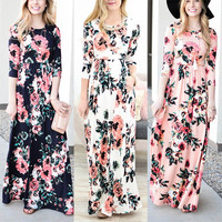 Women Floral Print 3/4 Sleeve Boho Dress Ladies Evening Party Long Maxi Dresses