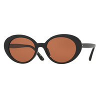 Oliver Peoples Parquet Monochromatic Oval Sunglasses, Black/Persimmon